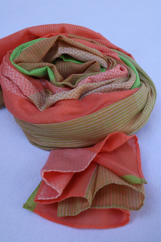 Orange and Parrot Green Rehwa Cotton Scarf