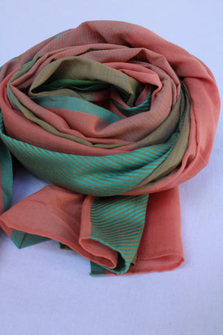 Orange and Light Green Rehwa Cotton Scarf
