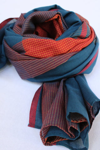 Navy Blue and Red Rehwa Cotton Scarf
