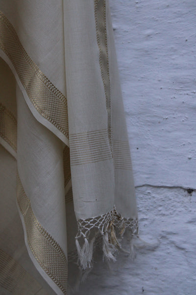 REHWA Dupatta in White with Gold Zari Half Chatai Border