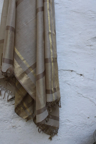 REHWA Dupatta in Brown and Gold Zari with Raj Border