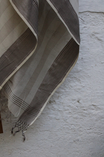 REHWA Dupatta In White and Grey stripes with Lahar Border in Grey Zari