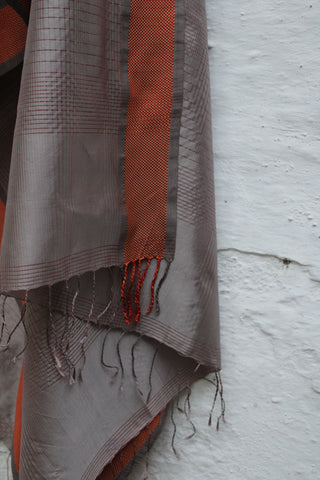 REHWA Dupatta in Grey and Red Stripes with Red Silk Border