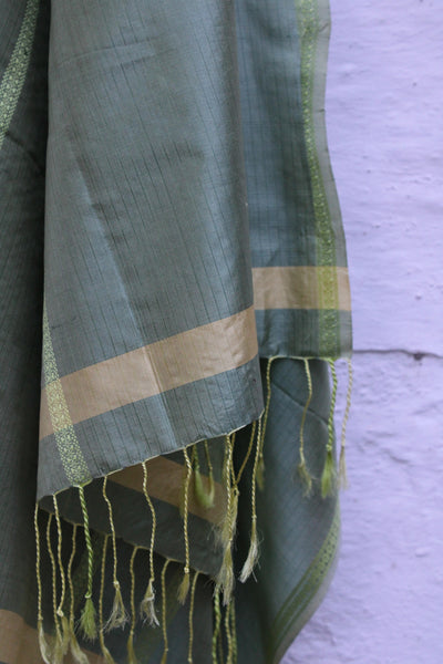 REHWA Pure Silk Dupatta in Dark Green and Yellow with Light green Silk Rui Phool Border