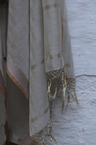 REHWA Dupatta in Light Brown and Kora with V Border in Zari