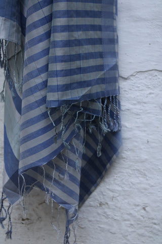 REHWA Dupatta in Sky Blue and Silver Stripes with Silk Narmada Border