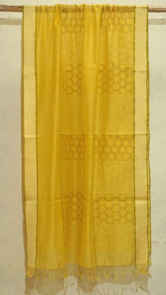 Bright Yellow Silk by Cotton dupatta with block print