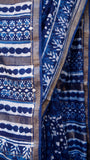 Sandhi - Dabu Handblock printed sari with Zari border