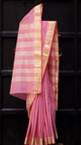 Light pink handloom Maheshwari sari with heavy zari border