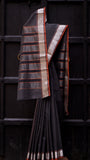 Black Tissue Sari with Silver Zari