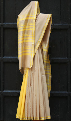 Tussar & Lemon Yellow Maheshwari