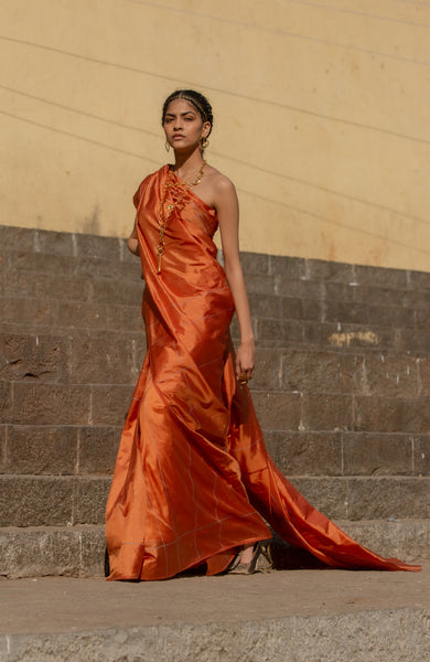 Checkered Rust Orange Pure Silk sari