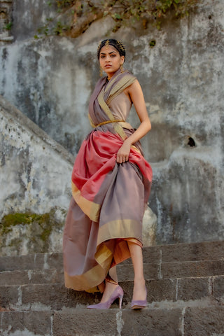 Dark Grey Silk by Cotton Maheshwari