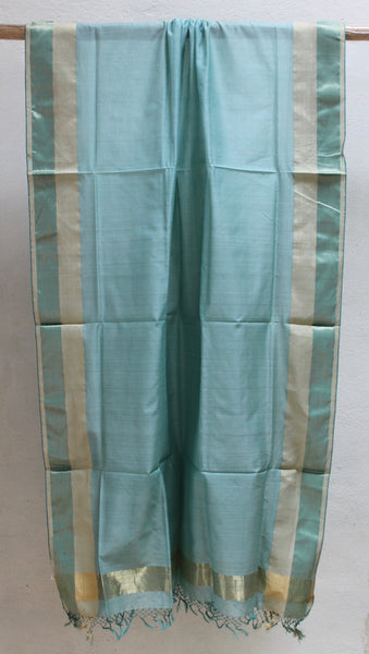 Light Turquoise Festive dupatta with Zari border