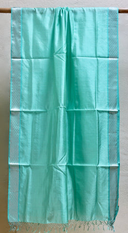 Silk by Cotton Turquoise dupatta with Meena border