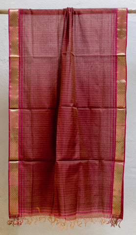 Dark Brown Maheshwari dupatta with Meena border