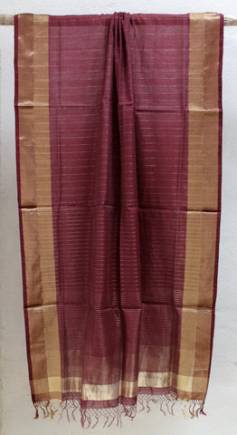 Burgundy Dupatta with Zari border