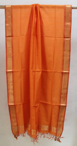 Bright Orange Festive dupatta with Zari border