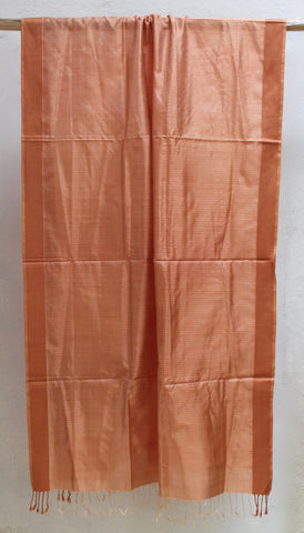 Rust Orange Checkered Silk Dupatta