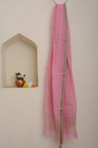 Soft Pink Dupatta with beige border