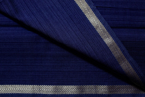 Navy Blue Textured fabric with Zari border