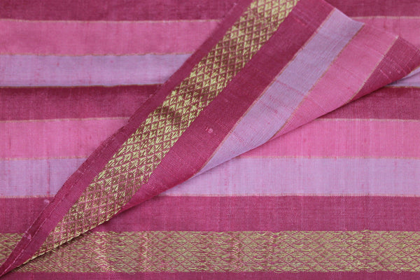 Cotton by Dupion Silk fabric in hues of Pink