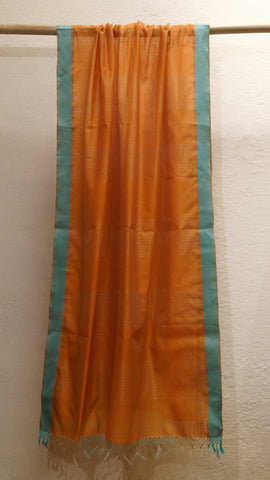 Orange silk cotton Maheshwari dupatta