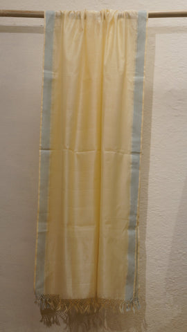 Pale yellow silk cotton Maheshwari dupatta