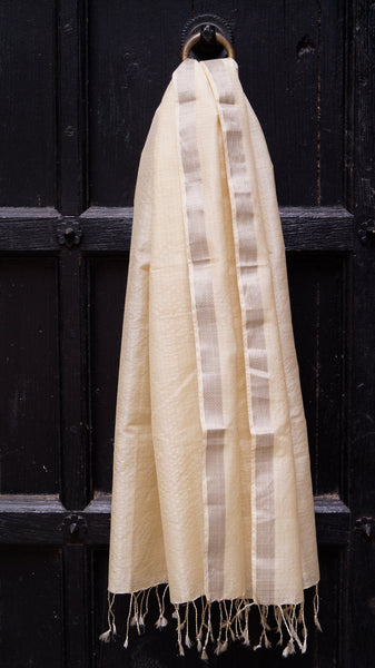 Pale yellow silk by cotton Maheshwari scarf