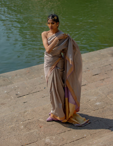 Flint Grey & Purple Pure Silk sari