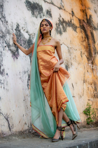 Mint Green Silk by Cotton sari