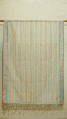Teal and White Silk by Cotton dupatta with block print