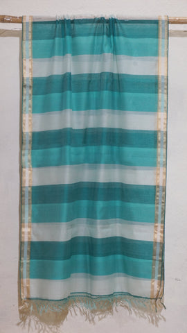 Shades of Teal Silk by Cotton dupatta