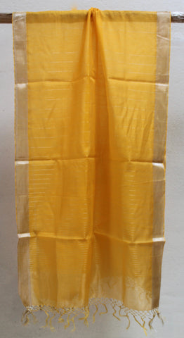 Amber Silk & Cotton scarf with Chatai border