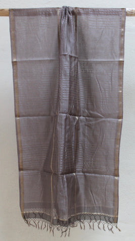 Dark Grey Checkered Silk by Cotton scarf