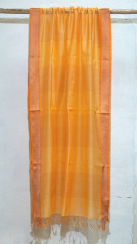 Saffron Yellow Silk by Cotton dupatta