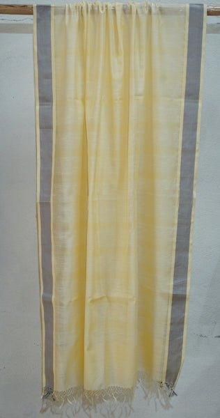 Cream Silk, Cotton and Linen dupatta