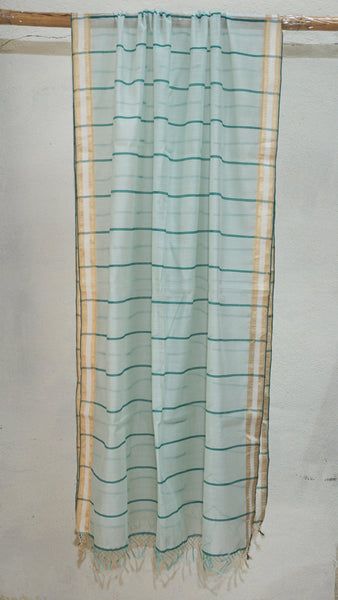 Kora and Bottle Green Silk by Cotton dupatta