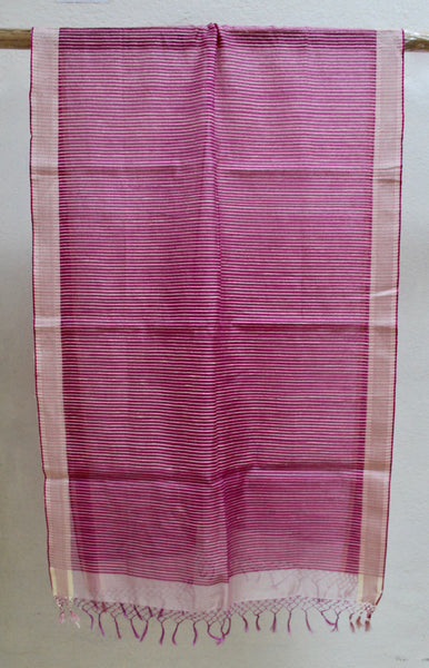 Beetroot PInk Scarf with Matka Silk Striping