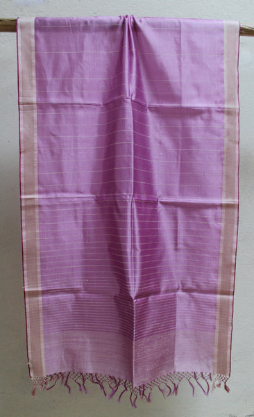 Soft PInk Scarf with Matka Silk Striping