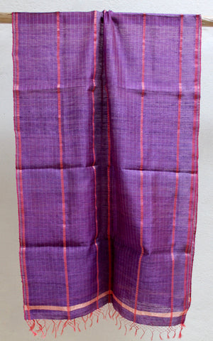 Purple Festive scarf with Matka Silk Striping
