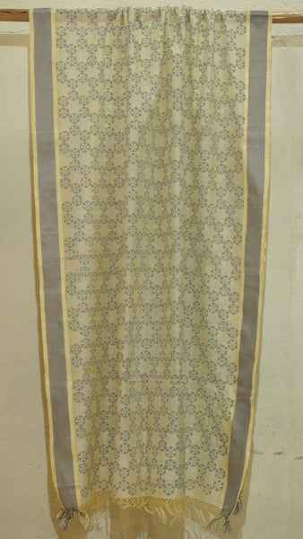 Cream Silk by Cotton dupatta with block print