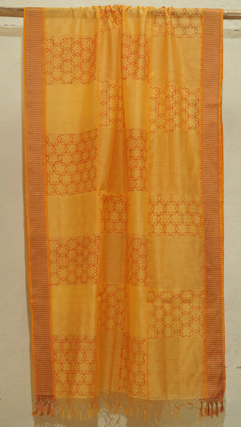 Saffron Yellow Silk by Cotton dupatta with block print