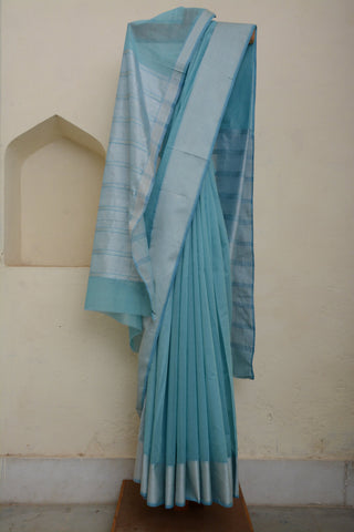 Sky Blue Maheshwari Sari with Silver Border
