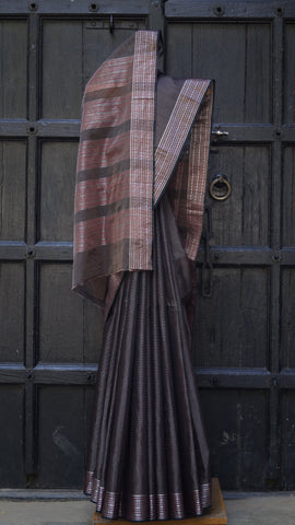 Striped Dark Brown Maheshwari Sari with Maroon and Silver Zari Border