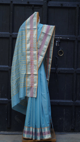 Traditional Maheshwari Sari in Sky Blue