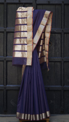 Striped Dark Purple Maheshwari Sari with Dual Tone Gold and Silver Border