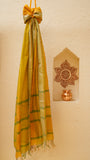 Bright yellow Summer dupatta with Resham border