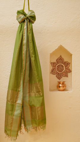 Mahendi coloured dupatta with Copper Zariwork