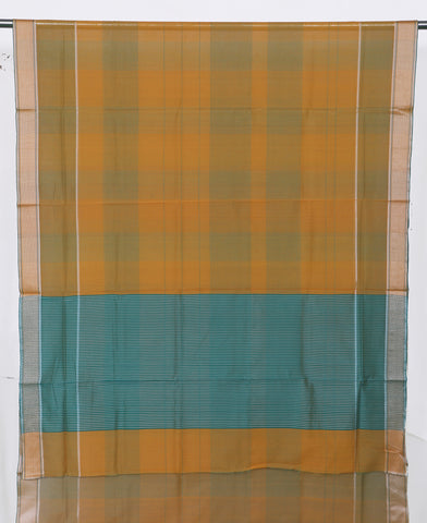 Brown & Green Silk Cotton Maheshwari